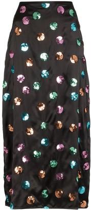 Rixo sequin polka dot midi skirt