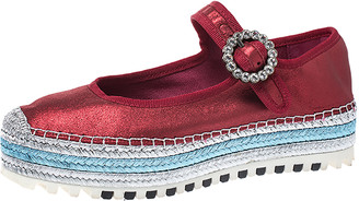 Marc Jacobs Metallic Red Leather Crystal Embellished Suzi Mary Jane Platform Sneakers Size 37