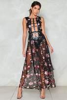 Nasty Gal nastygal Embroidered Vegan Leather Maxi Dress