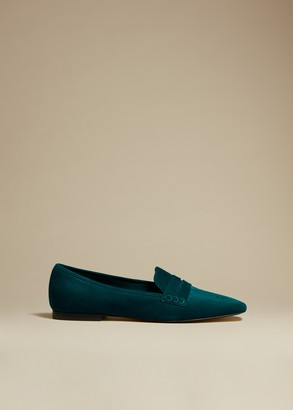 KHAITE The Carlisle Loafer in Hunter Green Suede