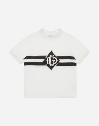 Dolce & Gabbana Printed Jersey Polo Shirt With Satin Detail