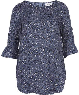 Zizzi Printed Straight Boat Neck Tunic with 3/4 Length Sleeves