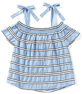Blu Pepper Big Girls 7-16 Cold-Shoulder Stripe Top