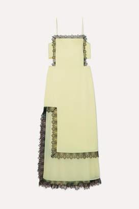 3.1 Phillip Lim Lace-trimmed Cutout Satin Maxi Dress - Pastel yellow