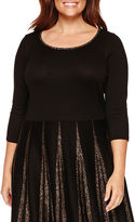 Liz Claiborne Elbow Sleeve Sweater Dress-Plus