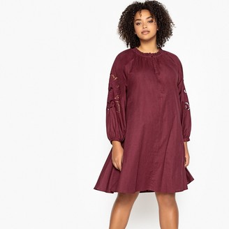 Castaluna Plus Size Ruffled Neck Embroidered Sleeve Dress