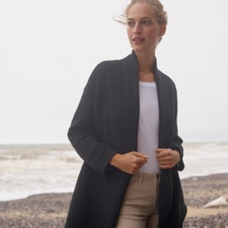 The White Company Boiled Wool-Rich Wide Sleeve Coatigan , Black, Extra Small