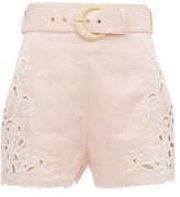 Zimmermann Freja High-rise Embroidered Linen Shorts - Womens - Light Pink