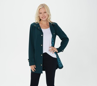 Dennis Basso Luxe Crepe Snap-Front Jacket with Printed Lining