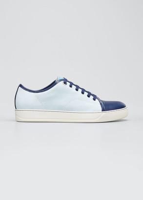 Lanvin Men's Colorblock Suede-Leather Low-Top Sneakers