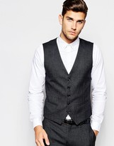 Selected Homme Pin Dot Waistcoat In Skinny Fit - Black