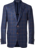 Canali woven check blazer - men - Silk/Linen/Flax/Cupro/Wool - 50