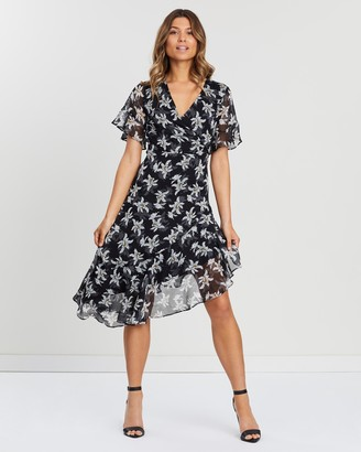 Atmos & Here Jay Wrap Front Ruffle Dress