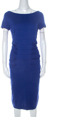 Escada Ink Blue Stretch Knit Pleated Dynamia Bodycon Dress M
