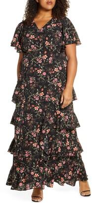 Kiyonna Tour de Flounce Tiered Maxi Dress