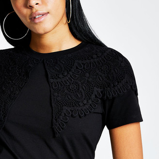 River Island Black oversized lace collar T-shirt
