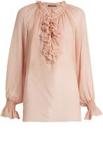 Roberto Cavalli Ruffle-trimmed silk-georgette blouse