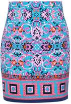Versace Printed Crepe Mini Skirt