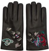 Gucci Black Leather Dragon Gloves