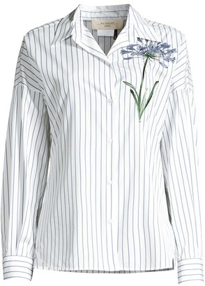 Max Mara Antony Stripe & Floral Embroidery Cotton Shirt