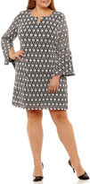 Robbie Bee Long Sleeve Circles Sheath Dress-Plus