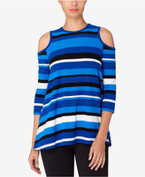 Catherine Malandrino Catherine Striped Cold-Shoulder Top