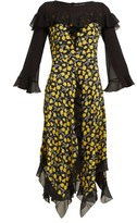 Etro Northumberland Floral-print Silk Midi Dress - Womens - Yellow Multi