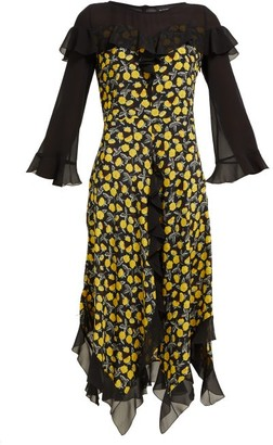 Etro Northumberland Floral Print Silk Midi Dress - Womens - Yellow Multi