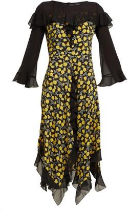 Etro Northumberland Floral-print Silk Midi Dress - Womens - Yellow Multi