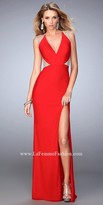 La Femme Halter Rhinestone Embellished Sheer Prom Gown