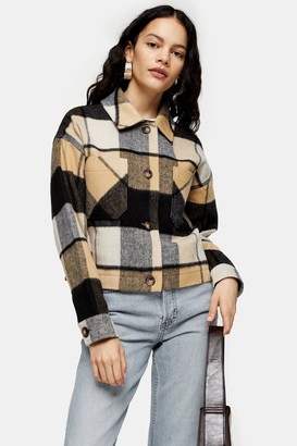 Topshop Womens Cropped Check Jacket With Wool - Brown