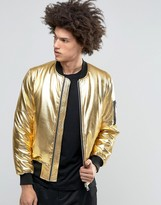 Asos Bomber Jacket With MA1 Pocket In Gold
