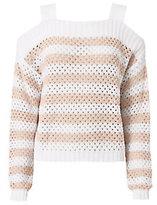 Autumn Cashmere Mesh Cold Shoulder Striped Sweater