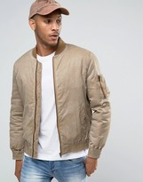 Asos Bomber With Wash & MA1 Pocket in Tobacco