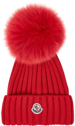 Moncler Red Pompom Wool Beanie