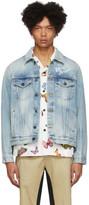 Palm Angels Blue Denim Sacred Heart Jacket