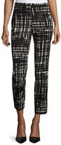 Lafayette 148 New York Slim-Leg Pants W/Side Stripe, Black Multi