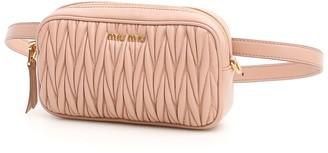 Miu Miu Matelasse Embellished Logo Belt Bag