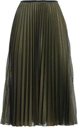 Moncler Pleated Mesh Midi Skirt