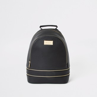 River Island Womens Black faux leather zip bottom backpack