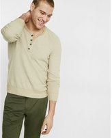 Express Long Placket Waffle Henley Sweater