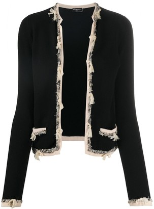 Chanel Pre Owned Boucle-Trim Cashmere Cardigan