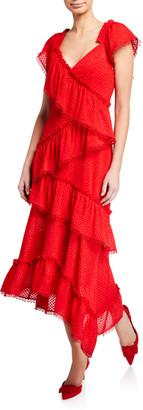 Three floor Tiered Rouge V-Neck Cap-Sleeve Ruffle-Trim Dress