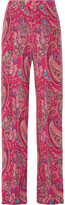 Etro Printed Silk Crepe De Chine Wide-leg Pants - Magenta