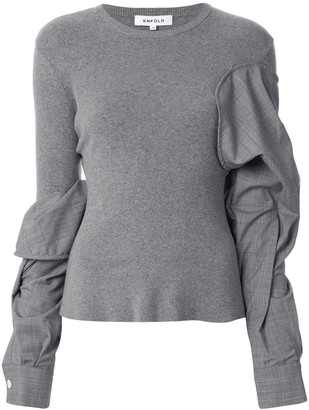 Enfold Ruched Twisted Sleeve Pullover