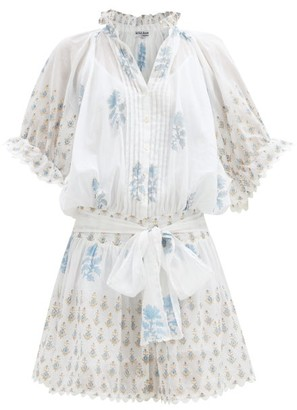 Juliet Dunn Floral-print Cotton-voile Mini Dress - Blue White