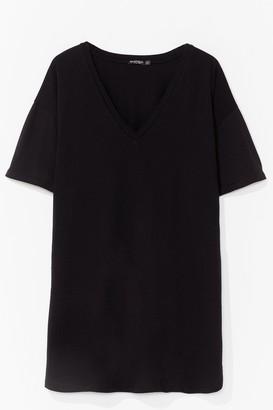 Nasty Gal Womens V Happy Plus Mini Tee Dress - Black - 16