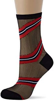 Tommy Hilfiger Th Women Sock 1p Transparency Calf (Navy/Red 831), (Size: 039)