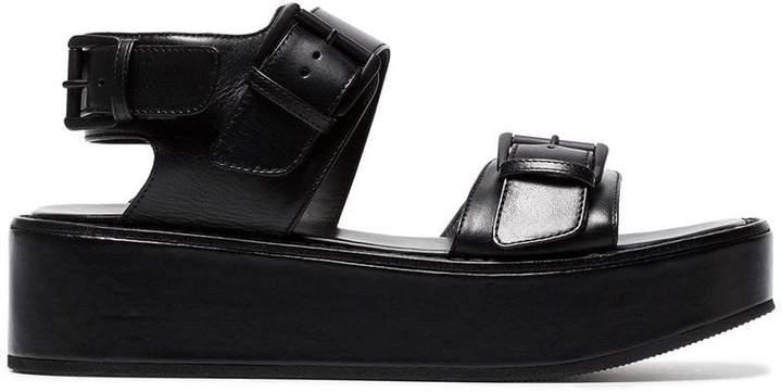 Ann Demeulemeester Black Flatform 50 Leather sandals