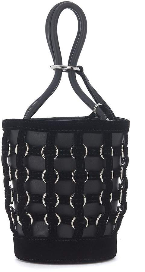Alexander Wang Roxy Mini Lack Leather And Velvet Bucket Bag